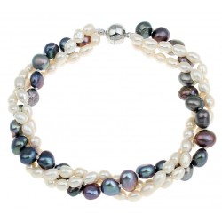 Freshwater Cultured Pearl Bracelet with Black and White Pearls, 3 Strands