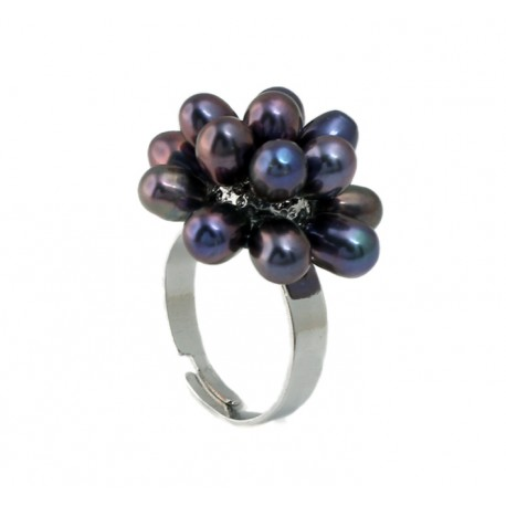 Freshwater Pearl Finger Ring with Black Pearls