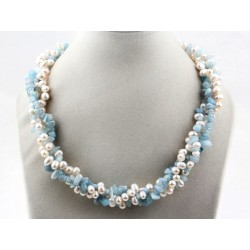 Multi Strands White Freshwater Pearl And Aguamarine Twisted Necklace