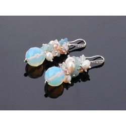 Freshwater Pearl, Aquamarine and Opal Earrings