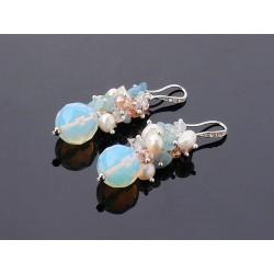 Freshwater Pearl, Aquamarine and Opal Earrings