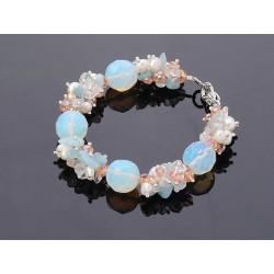 Freshwater Pearl, Aquamarine And Opal Gemstone Bracelet