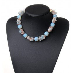 Freshwater Pearl, Crystal, Aquamarine And Opal Gemstone Necklace