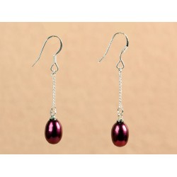 Pendientes con perla color bordeaux