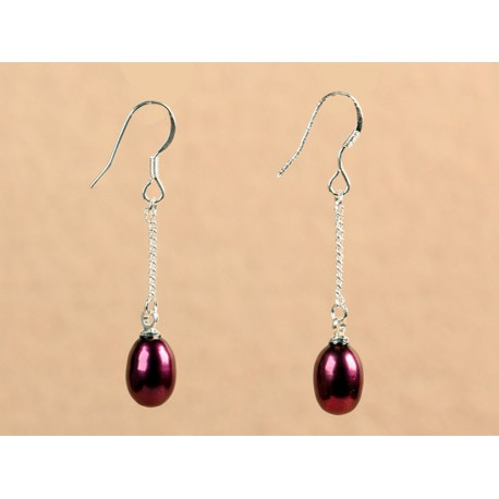 Wine Red Natural Freshwater Pearl Dangle Earrings