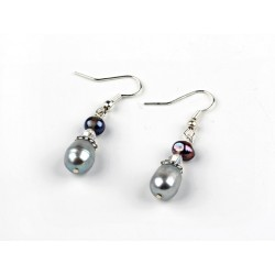 Grey Freshwater Pearl Crystal Earrings