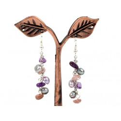 Pendientes largos con amatista, cuarzo y perlas naturales