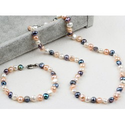 Classic Design Three Color Freshwater Pearl Beaded Set