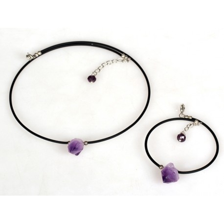 Simple Style Amethyst Stone Set, Necklace And Bracelet