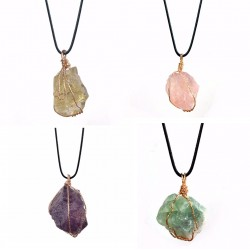 Irregular natural Stone Wire Wrapped Pendant Necklace
