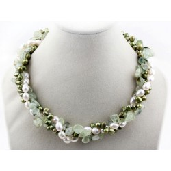 Multi Strands White And Green Freshwater Pearl And Green Rutilated Quartz Twisted Necklace