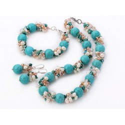 Freshwater Pearl, Crystal, And Round Turquoise Set