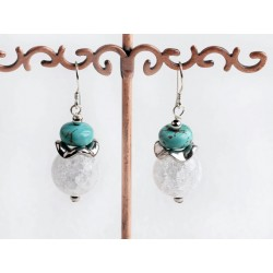 Natural Turquosie And Crystal Earrings