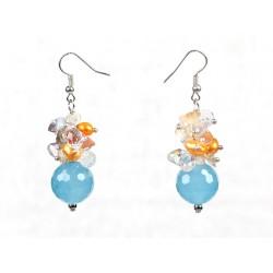 Cyanite, Multi Color Cluster Crystal and Pearl Dangle Earrings