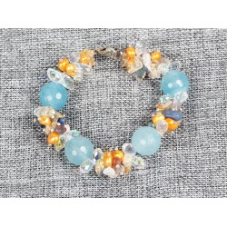 Round Cyanite Beads, Yellow Pearl and Clear Crystal Bracelet