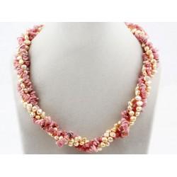 Collar trenzado de Rodonita y Perlas de Agua dulce