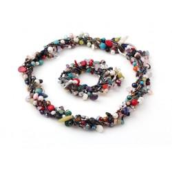 Conjunto Collar y Pulsera de piedras semipreciosas y perlas