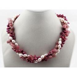 Collar de cuarzo Strawberry y Perlas naturales color crema y bordeaux