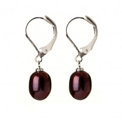 Elegant Natural Drop Shape Dark Purple Freshwater Pearl Earrings