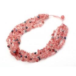 Collar de Cuarzo Cherry y Perlas naturales grises