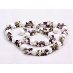 Conjunto Collar, Pulsera y Pendientes esferas de Porcelana y Perlas naturales y Piedras semipreciosas