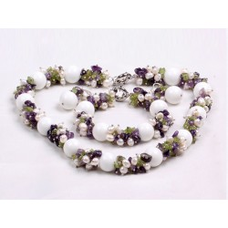 Natural White Pearl, Amethyst, Olivine And Big White Porcelian Stone Beads Jewelry Set