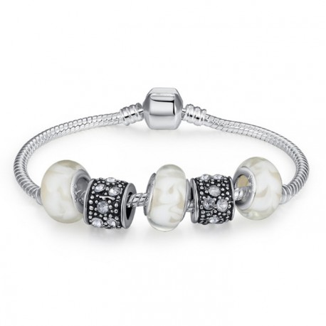 Brazelet with Murano glass and Tibetan silver charms