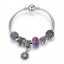 European Style Bracelet with Charms and Purple Murano Glass Beads