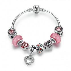 Pulsera rígida con charms de cristales rosas y corazónes