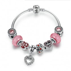 Romantic Love Heart Pendant Charms Bracelet