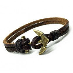 Handmade Anchor Charm Genuine Leather Bracelet