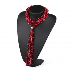 Long Natural Red Coral And Pearl Necklace