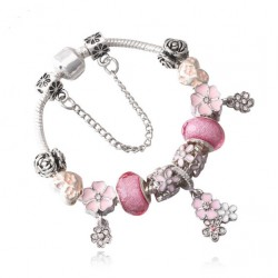 Silver Plated Pink Crystal and Flower Charm Bracelet