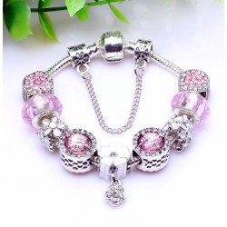 Bracelet with Flower Charms and Crystal