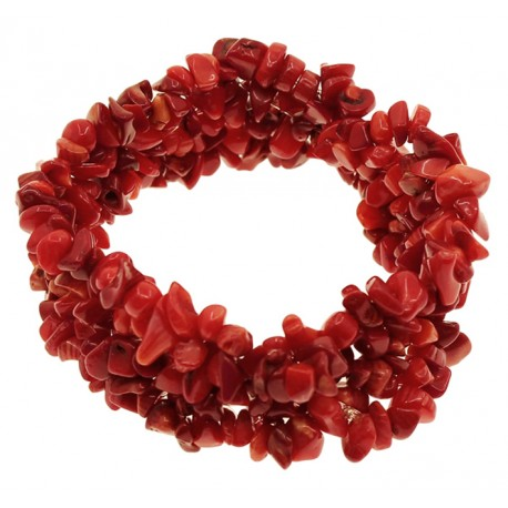 Red Coral Chip Gem stone Beads Bracelet