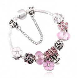Silver Heart Love Charm Bracelet with Safety Chain