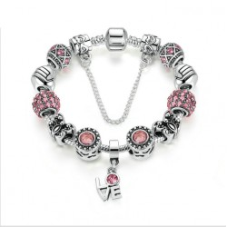 Silver Color European Pink Zircon Friendship Bracelet