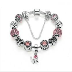 Silver Color European Pink Zircon Friendship Bracelet