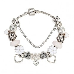 Flower and Heart Charms and Pendants Bracelet