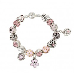 Antique Silver Charm Bracelet with Heart And Flower Crystal Beads