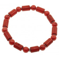 Natural Red Coral Beads Bracelet with Cilinders
