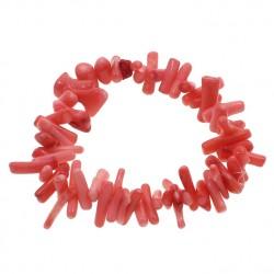 Pulsera elástica de coral rosa auténtico