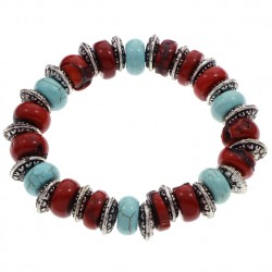 Natural Coral Bracelet with Turquoise and Antique Silver Beads