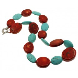 Natural Coral Necklace with Turquoise Beads
