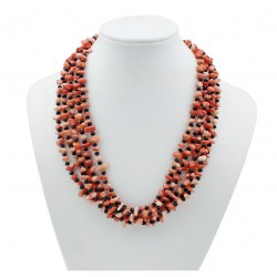 Natural Coral Necklace with Black Glass Beads