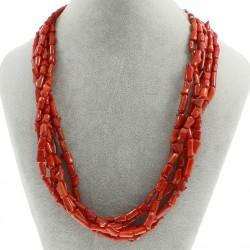 Collar multicapas de cilindros de coral rojo natural