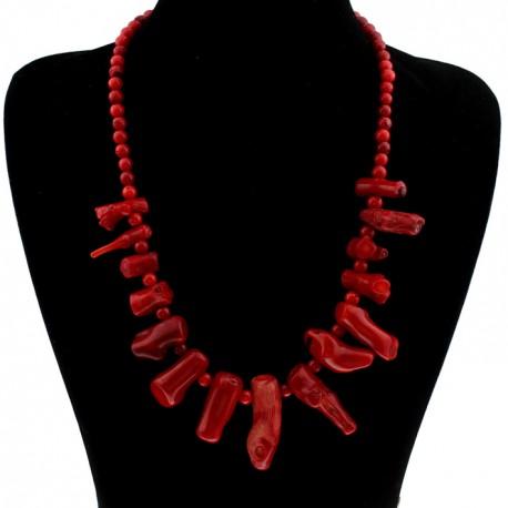 Collar maxi de coral rojo natural