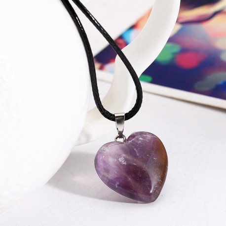 Natural Amethyst Heart Pendant Necklace