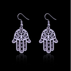 Fatima Hamsa Hand Pendant Earrings