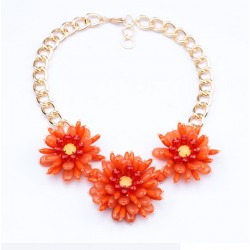 Acrylic Stone Flower Statement Necklace